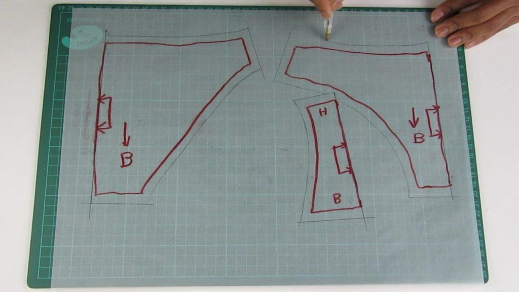 marges de couture du patron de culotte