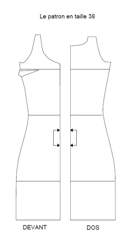 Exemple de patron de robe. Ici on voit les repères qui permette d'adapter un patron