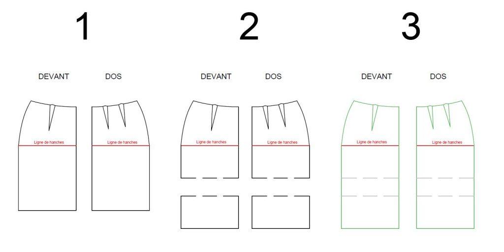 Adapter un patron : rallonger une jupe droite